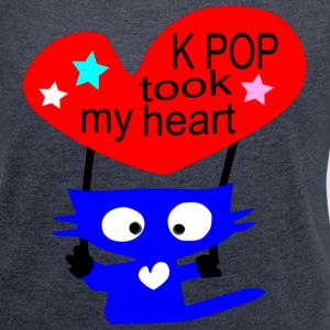 KPOP took my heart txt blue cat vector art Women's Boat Neck Long Sleeve Top - Women's T-shirt with rolled up sleeves