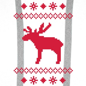moose caribou reindeer deer christmas norwegian knitting pattern rudolph rudolf winter snowflake snow crystal frost snow flower Bags  - Men's Premium Hoodie