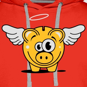A piggy bank with wings and halo T-Shirts - Men's Premium Hoodie