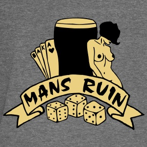 2 colours - mans ruin pin up girl sex drugs rock n roll junggesellenabschied Polo Shirts - Women's Boat Neck Long Sleeve Top