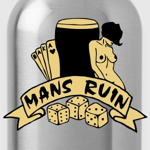 2 colours - mans ruin pin up girl sex drugs rock n roll junggesellenabschied Polo Shirts - Water Bottle