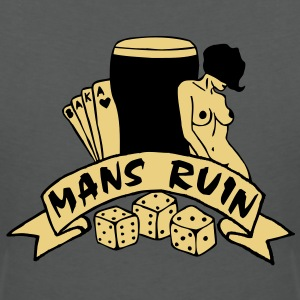 2 colours - mans ruin pin up girl sex drugs rock n roll junggesellenabschied Polo Shirts - Women's V-Neck T-Shirt