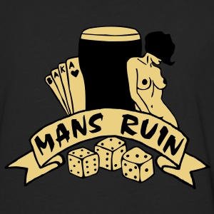 2 colours - mans ruin pin up girl sex drugs rock n roll junggesellenabschied Polo Shirts - Men's Premium Longsleeve Shirt