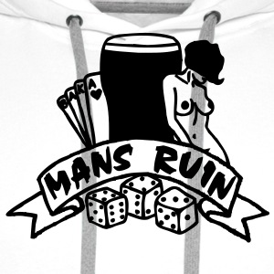 1 colour - mans ruin pin up girl sex drugs rock n roll junggesellenabschied Tee shirts - Sweat-shirt à capuche Premium pour hommes