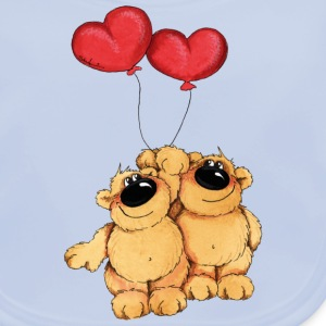Two bears in love Barn-T-shirts - Ekologisk babyhaklapp