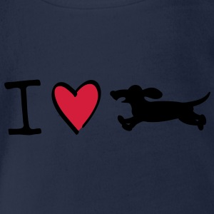 I love dachshunds Kids' Tops - Organic Short-sleeved Baby Bodysuit