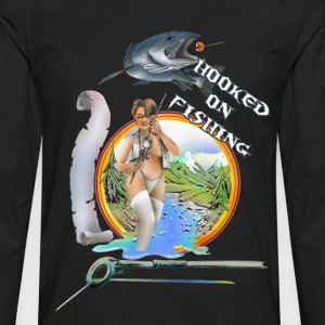 Hooked on fishing T-Shirts - Männer Premium Langarmshirt