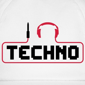 I love techno plug headphones sound bass beat catch cable music i love techno minimal house club dance dj discjockey electronic electro Mugs  - Baseball Cap
