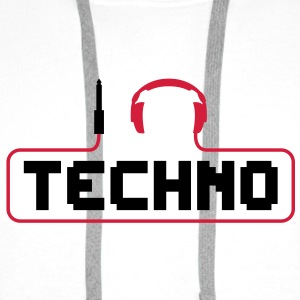 I love techno plug headphones sound bass beat catch cable music i love techno minimal house club dance dj discjockey electronic electro Mugs  - Men's Premium Hoodie