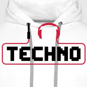 I love techno plug headphones sound bass beat catch cable music i love techno minimal house club dance dj discjockey electronic electro Kids' Shirts - Men's Premium Hoodie