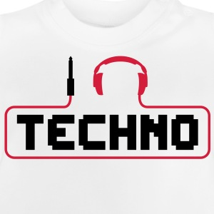 I love techno plug headphones sound bass beat catch cable music i love techno minimal house club dance dj discjockey electronic electro Kids' Shirts - Baby T-Shirt