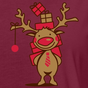 A reindeer with gifts Polo Shirts - Women's Oversize T-Shirt