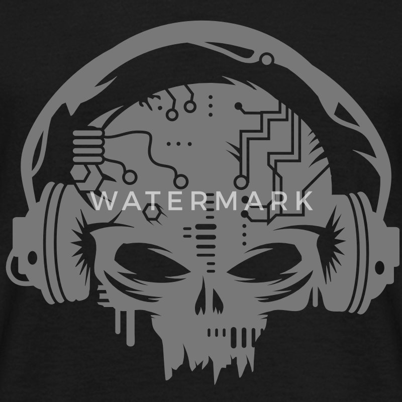 Cyborg Skull with headphones T-Shirts - Men's T-Shirt