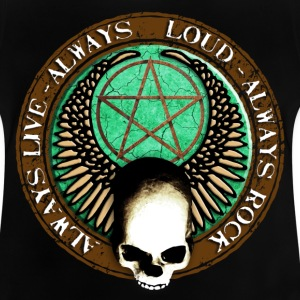 rock_and_roll_and_skull_and_pentagram_g Camisetas - Camiseta bebé