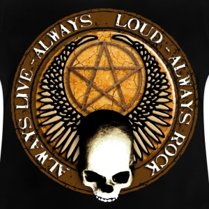 rock_and_roll_and_skull_and_pentagram_h Camisetas - Camiseta bebé