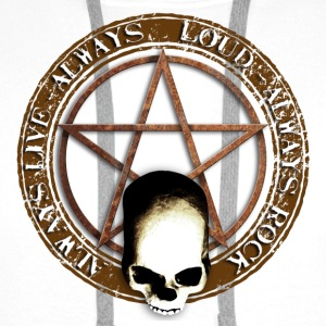 rock_and_roll_and_skull_and_pentagram_a Buttons - Mannen Premium hoodie
