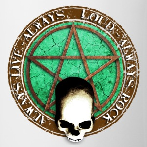 rock_and_roll_and_skull_and_pentagram_d Badges - Tasse