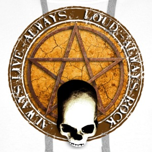 rock_and_roll_and_skull_and_pentagram_e Badges - Sweat-shirt à capuche Premium pour hommes