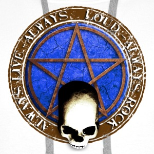 rock_and_roll_and_skull_and_pentagram_f Badges - Sweat-shirt à capuche Premium pour hommes