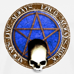 rock_and_roll_and_skull_and_pentagram_f Badges - T-shirt Premium Homme