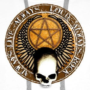 rock_and_roll_and_skull_and_pentagram_h Buttons - Mannen Premium hoodie