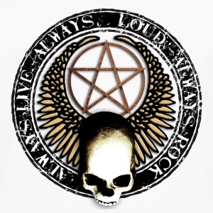rock_and_roll_and_skull_and_pentagram_m Badges - T-shirt manches longues Premium Homme
