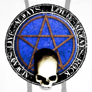 rock_and_roll_and_skull_and_pentagram_q Badges - Sweat-shirt à capuche Premium pour hommes