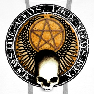 rock_and_roll_and_skull_and_pentagram_s Badges - Sweat-shirt à capuche Premium pour hommes