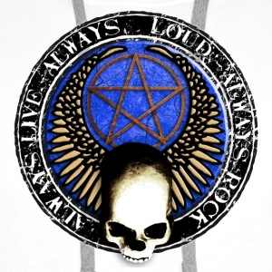 rock_and_roll_and_skull_and_pentagram_t Badges - Sweat-shirt à capuche Premium pour hommes