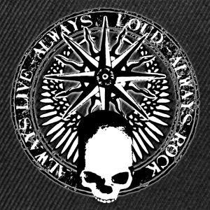 rock_and_roll_and_skull_and_pentagram_bw Tee shirts - Casquette snapback