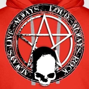 rock_and_roll_and_skull_and_pentagram_bw Camisetas - Sudadera con capucha premium para hombre