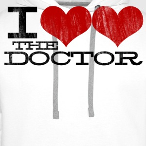 I HEART HEART the Doctor (Black Text) Design T-Shirts - Men's Premium Hoodie