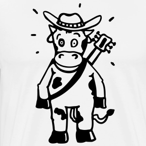 Cow cowboy with a guitar  Aprons - Men's Premium T-Shirt