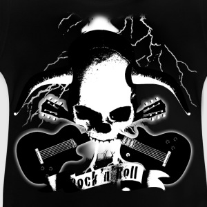 skull_and_horns_and_guitars_b_sw Shirts - Baby T-Shirt