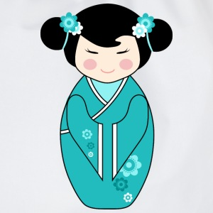 Cute Kokeshi Doll Illustration in Blue - Ladies Hoodie - Drawstring Bag