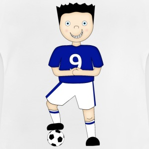 Cartoon Football Player in Blue and White Strip - Kid's T-Shirt - Baby T-Shirt