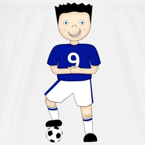 Cartoon Football Player in Blue and White Strip - Baby One Piece - Men's Premium T-Shirt