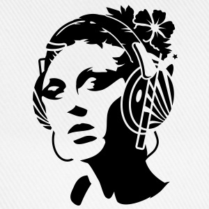 A young woman with headphones and a flower in her hair Hoodies & Sweatshirts - Baseball Cap