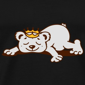 small bear with a golden crown sleeps Umbrellas - Men's Premium T-Shirt