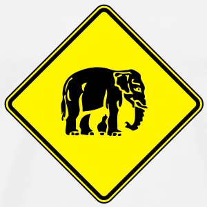 Caution Elephant Crossing Sign - Men's Premium T-Shirt