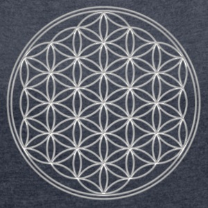 Flower of Life, Sacred Geometry, Spiritual Healing Symbol T-Shirts - Women's T-shirt with rolled up sleeves
