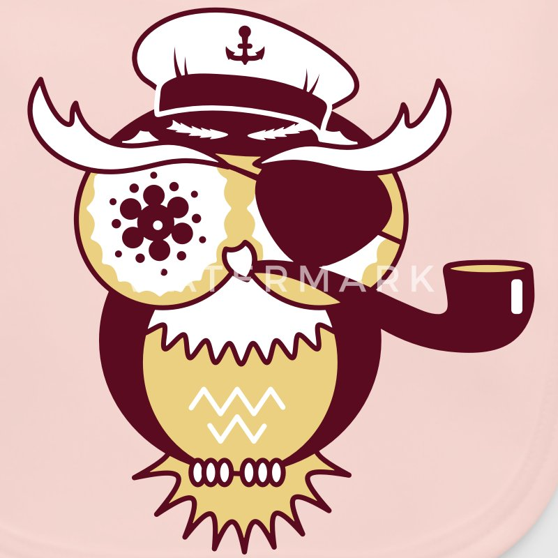 An owl with captain's hat, eye patch and pipe tobacco Accessories - Baby Organic Bib
