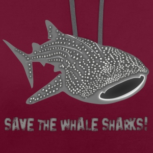 walhai wal hai fisch whale shark taucher tauchen diver diving naturschutz endangered species save the whale sharks Taschen - Kontrast-Hoodie