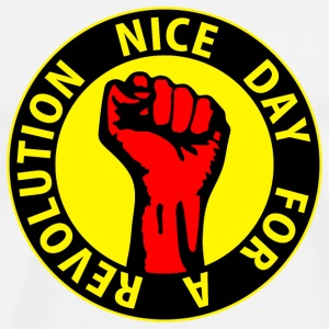 Digital - nice day for a revolution - against capitalism working class war revolution Buttons - Men's Premium T-Shirt
