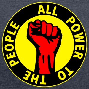 Digital - all power to the people - against capitalism working class war revolution Tröjor - T-shirt med upprullade ärmar dam