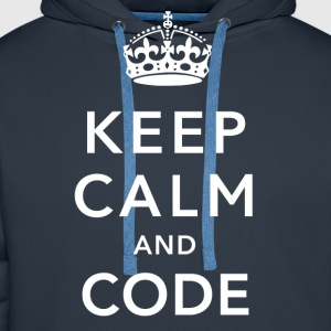 CALM DOWN AND CODE T-Shirts - Men's Premium Hoodie