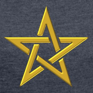 Star of the Magi - Pentagram - Sign of intellectual omnipotence and autocracy. gold, Blazing Star, powerful symbol of protection Hoodies & Sweatshirts - Women's T-shirt with rolled up sleeves