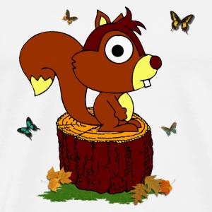 Nice squirrel on a trunk - Bag - Men's Premium T-Shirt
