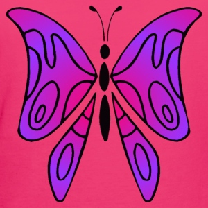 Pink and purple butterfly - Bag - Organic damer