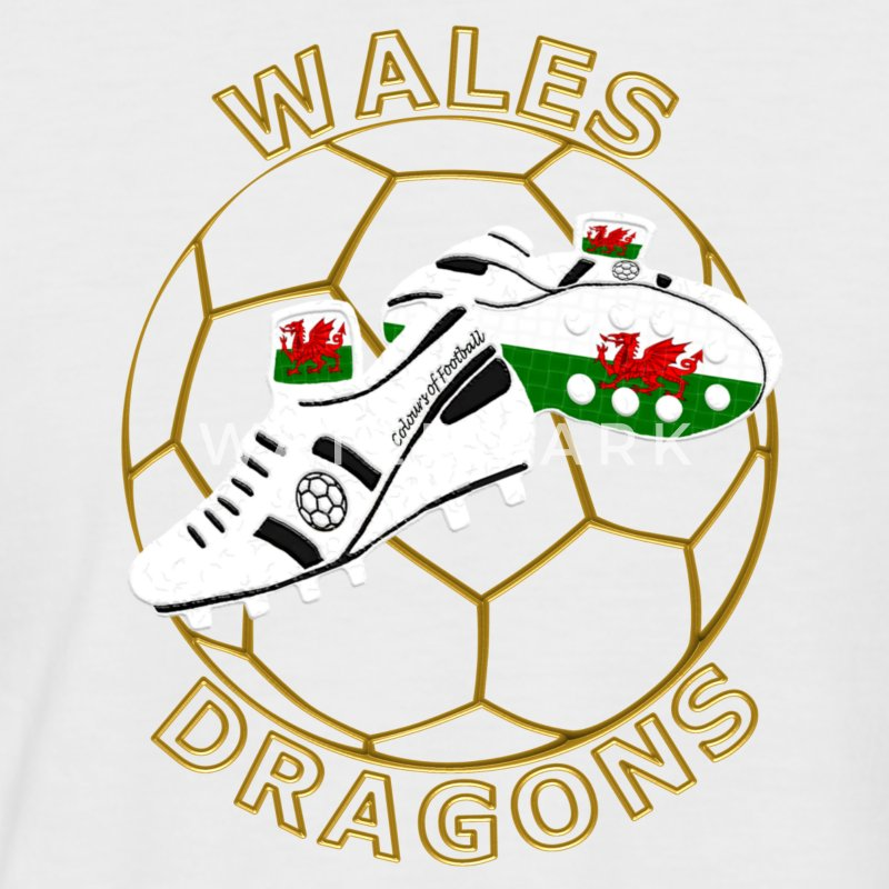 wales football crest white black gold T-Shirts - Men's Baseball T-Shirt